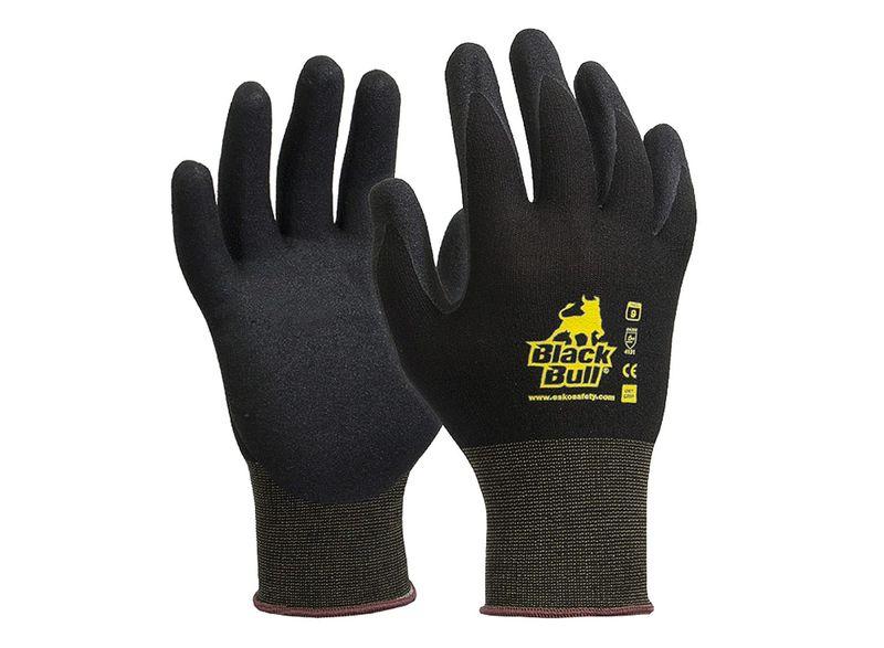 Esko Black Bull Heavy Duty Nitrile Polyamide Liner Gloves Black
