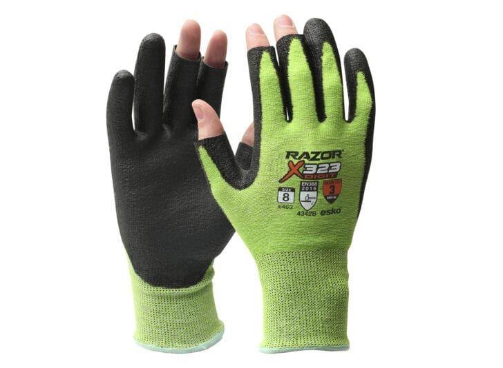 Esko Razor X323 Digit Gloves HPPE Cut Resistant Level 3 2-Finger PU Coating Neon Green
