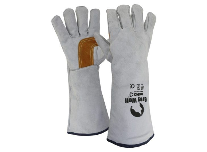 Esko Grey Wolf Welders Glove Reinforced Palm Lined And Kevlar Stitched 406mm Grey/Gold