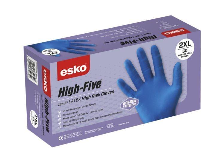 Esko High Five Disposable Latex High Risk Gloves Powder Free Blue Box 50