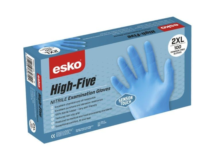 Esko High Five Disposable Nitrile Glove Blue Box 100