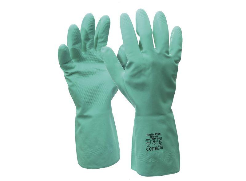 Esko Nitrile Chemical Gloves 30cm Long Flock Impregnated Green