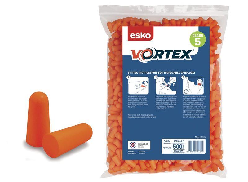 Esko Vortex Earplugs Refill Bag For Dispenser Class 5 26dB Orange Box 1000