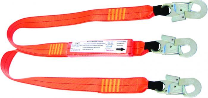 QSI 1.5m Double Leg Shock Absorbing Lanyard with 3 Double Action Hooks