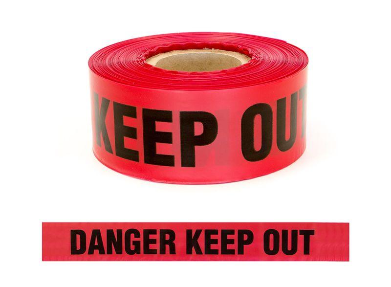 """Esko Barrier Warning Tape """"Danger Keep Out"""" Black/Red 75mm x 250m"""