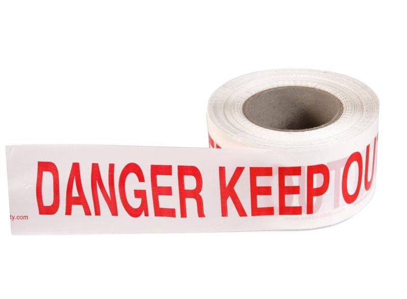 """Esko Economy Barrier Warning Tape """"Danger Keep Out"""" Red/White 75mm x 250m"""