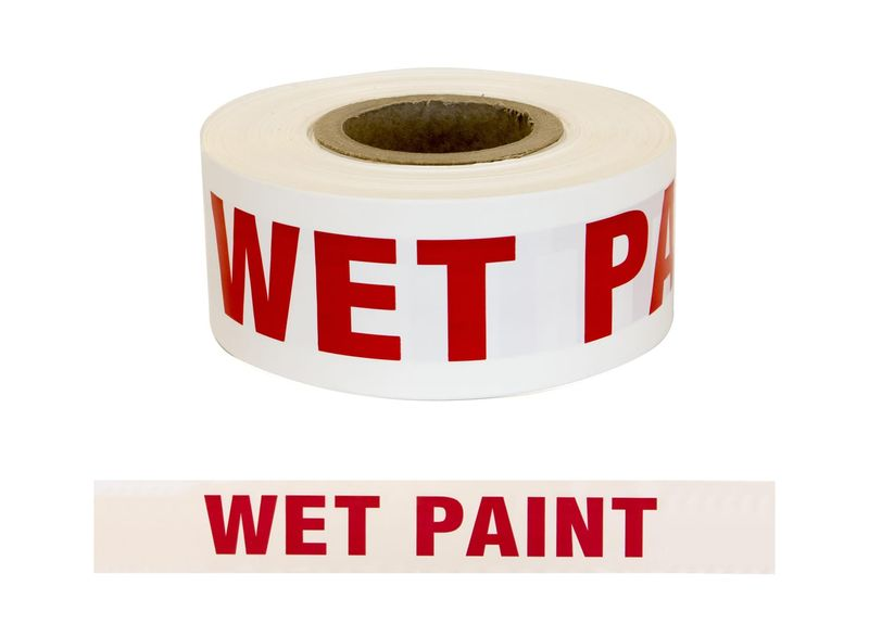 "Esko Barrier Warning Tape ""Wet Paint"" Red/White 75mm x 250m"