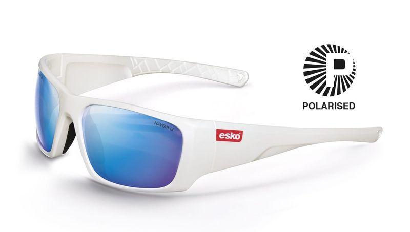 Esko Hawaii Safety Glasses Pearl White Frame Polarised Lens