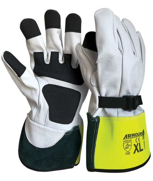 Safety Armour High Voltage Leather Overglove Kevlar Stitched Hi Vis Cuff Wrist Strap And FR Palm Grip - 30cm