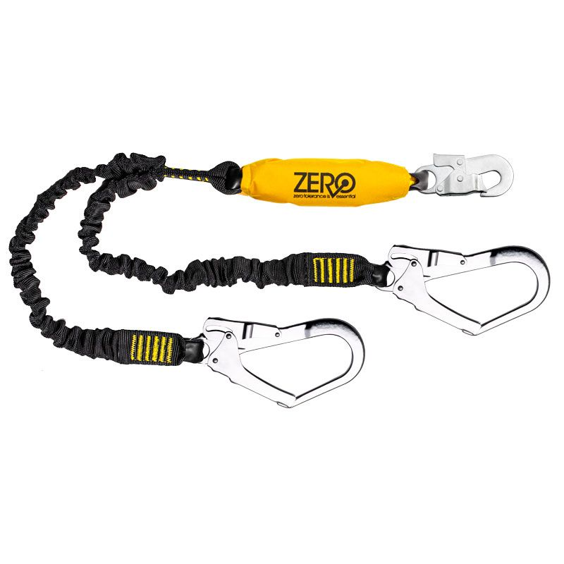Zero Climbs Double Webbing Lanyard with Snaphook And Scaffhooks
