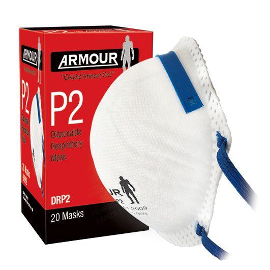 Armour Safety Disposable Respirator Non Valve P2 Mask Box 20