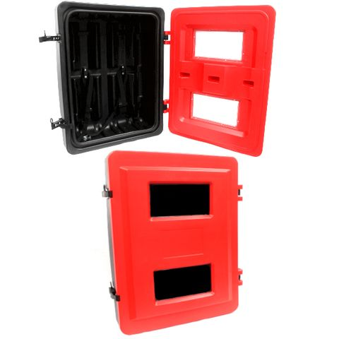 FE CAB POLY RED FRONT LOAD DBL