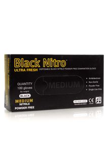 BLACK NITRILE GLOVES BOX 100 MED