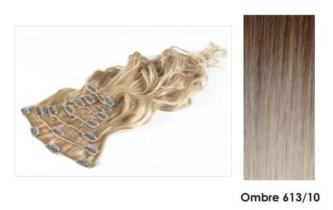 Amazing Hair 20 inch CLIP-IN Extensions OMBRE Lt Brown/Lt Blonde #6/613 - 10pc