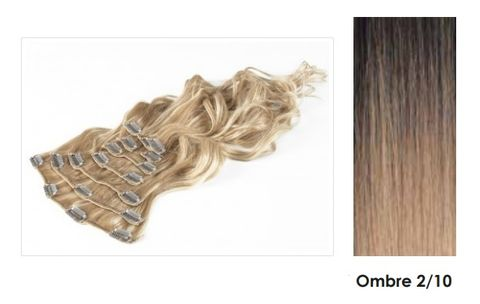 Amazing Hair 20 inch CLIP-IN Extensions OMBRE Choc Brown/Lt Caramel #2/10 - 10pc