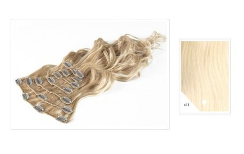Amazing Hair 20 inch CLIP-IN Extensions Light Blonde #613 10pc set