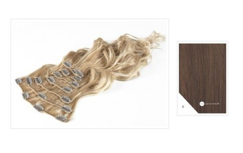 Amazing Hair 20 inch CLIP-IN Extensions Light Brown #6 10pc set