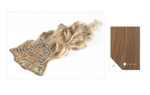 Amazing Hair 20 inch CLIP-IN Extensions Light Caramel #10 10pc set