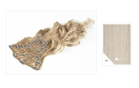 Amazing Hair 20 inch CLIP-IN Extensions Platinum Blonde #60A 10pc
