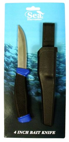 SEA HARVESTER RUBBER HANDLE BAIT KNIFE WITH SHEATH