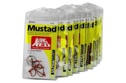 MUSTAD LONG RED HOOKS PKTS