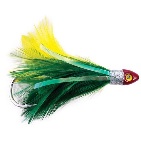 BLACK MAGIC SALTWATER CHICKEN GREEN/YELLOW DOUBLE HOOK