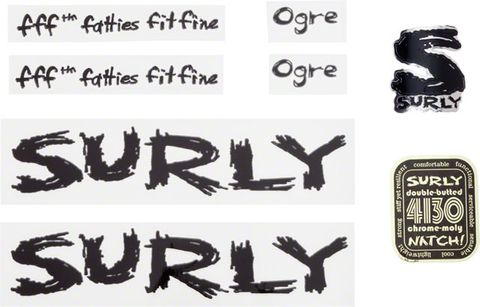 Surly Ogre Decal Set with Headbadge Blak