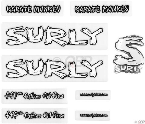 Surly Karate Monkey Frame Decal Set Whit
