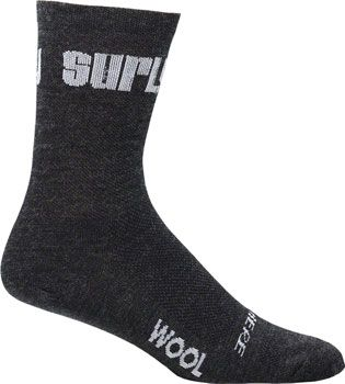 Surly Logo 5 inch Wool Sock Black MD