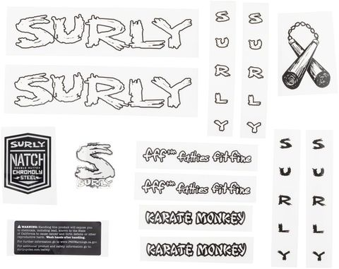 Surly Karate Monkey Decal Set White