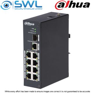Dahua PFS3110-8P-96, 8 + 2 PoE Switch 96W. Din Rail Mount.