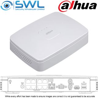 Dahua NVR 4108-8P-4KS2/L: 8x PoE Smart Box PRO. 1x HDD. No Hard Drive Included.