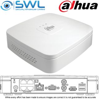 Dahua NVR 4104-P-4KS2/L: 4CH, 4x PoE Smart Box PRO, 1x HDD. No Hard Drive Includ