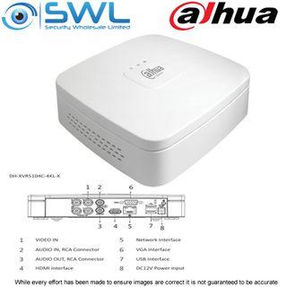 Dahua XVR5104C-4KL-X: 4CH 4K Pentabrid HDCVI/ IP. 1x Hard Drive. No HDD included
