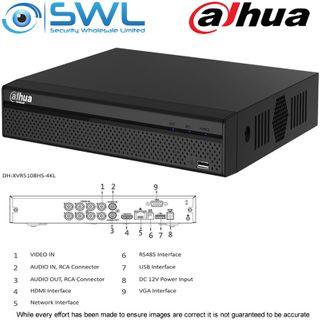 Dahua XVR5108HS-4KL-X: 8CH 4K Pentabrid. HDCVI/ IP. 1x Hard Drive. No HDD Inc.