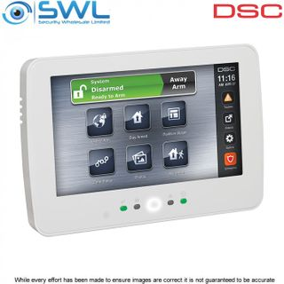 """DSC Neo: HS2TCHPN Hardwired Full English 7"""" Touchscreen Keypad c/w Prox - White"""