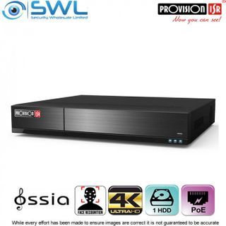 Provision-ISR NVR8-8200PFA 8CH NVR, 8x PoE 4K FACE RECOGNITION with Alarms