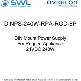 Avigilon DINPS-240W-RPA-RGD-8P: 24VDC 240W DIN Mount PSU For Rugged Appliance