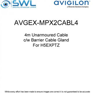 Avigilon AVGEX-MPX2CABL4: 4m Unarmoured Cable c/w Barrier Cable Gland - H5EXPTZ