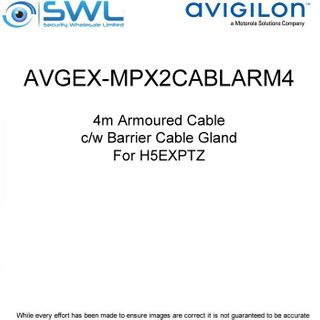 Avigilon AVGEX-MPX2CABLARM4:H5EXPTZ Armoured Cable c/w Barrier Cable Gland - 4m
