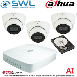 Dahua NVR 4104-P-4KS2/L 4CH PoE KIT: With 3 x 6MP 2.8mm Eyeball Cameras 1Tb HDD