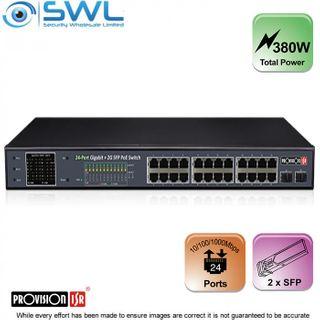 BSTOCK Provision-ISR PoES-24380GCL+2SFP: 24 Port Gigabit PoE Switch 380W