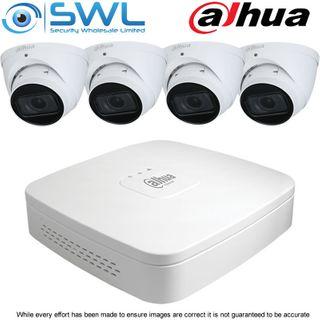 Dahua NVR 4108-8P-4KS2/L 8CH PoE Kit: 4x 4Mp 2.7~13.5mm Eyeball Cameras NO HDD