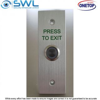 "ONETOP PB0-3N Green: Stainless Narrow Momentary Switch ""PRESS TO EXIT"""