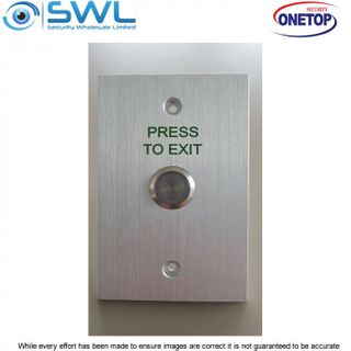 "ONETOP PB-03S Green: Stainless Standard Momentary Switch ""PRESS TO EXIT"""