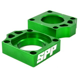 SPP Axle Block Kawasaki KX125-450/F Green