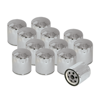 S&S 12 Pack of Chrome Oil Filters for HD Sportster, HD Evolution, and Shovelhead Models