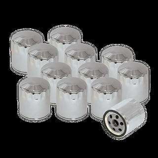 S&S 12 Pack of Chrome Oil Filters for HD Sportster, HD Evolution, and Shovelhead Models