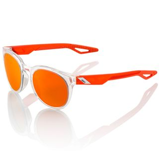 100% Campo Sunglasses Polished Crystal Clear with Orange Multilayer Lens