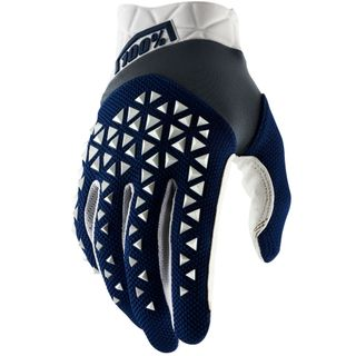 100% Airmatic Navy/White/Steel Gloves